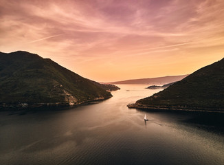 Montenegro. Sunset in the Bay of Kotor. The view from the top. Photography on drone.