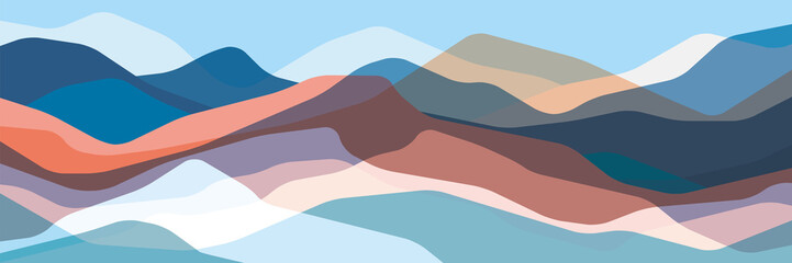 Fototapeten Pool Color mountains, translucent waves, abstract glass shapes, modern background, vector design Illustration for you project
