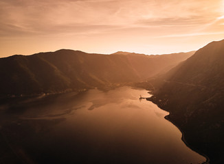 Montenegro. Sunset in the Bay of Kotor. The view from the top. Adriatic sea.