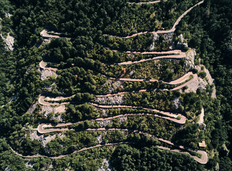 Montenegro. Serpentine. Climb to mount Lovcen. Road to Lovcen national Park. Summer. The view from the top.