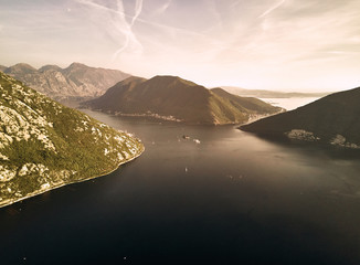 Montenegro. Sunset in the Bay of Kotor. The view from the top. Adriatic sea. Photography on drone.