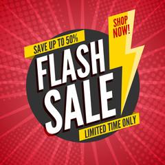 Flash Sale banner template design.Vector illustration.