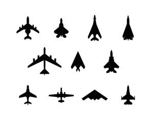 War planes silhouette set