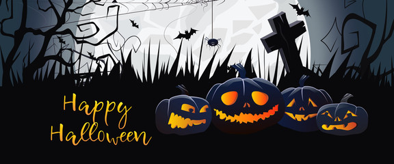Happy Halloween scary banner design. Creative greeting card with angry cartoon pumpkins on black grass, huge white moon and cemetery. Lettering can be used for postcards.