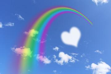 虹とハートの雲