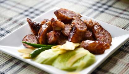 Thai Sausage in white dish