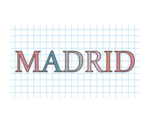 Madrid on checkered paper texture- vector illustration
