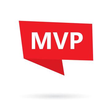 MVP (minimum viable product) acronym on a sticker- vector illustration