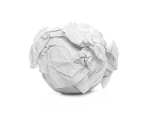 White crumpled paper ball isolated on white background