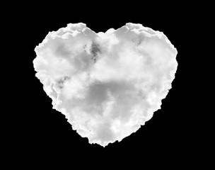 Illustration heart cloud on black background. For montage or edit in blending mode.