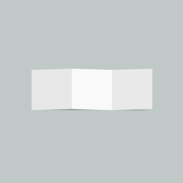 Clean realistic tri fold brochure vector mockup. White folded paper blank template.