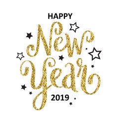 HAPPY NEW YEAR 2019 gold glitter and black card