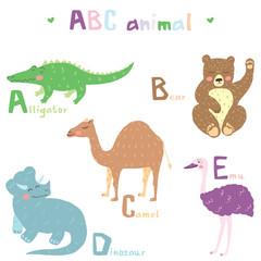 Vector hand drawn cute abc alphabet animal colorful scandinavian design, alligator, bear, camel, dinosaur, emu