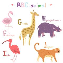 Vector hand drawn cute abc alphabet animal scandinavian colorful  design, flamingo, giraffe, hippopotamusl, ibis, jaguar