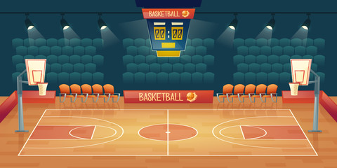 Vector cartoon background of empty basketball court. Interior of sports arena with spotlights, seats and place for sports game. Playground for competition, championship. Space for viewers, fan sector.