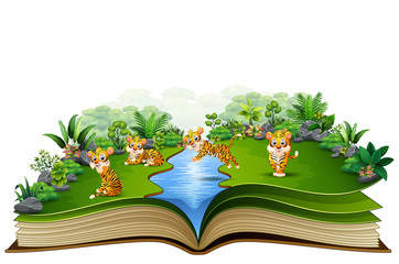 open book with group of tiger cartoon