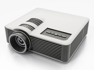 Generic projector isolated on white background. 3D illustration