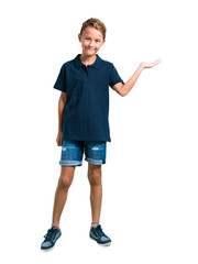 Full body of Little boy holding copyspace imaginary on the palm on white background