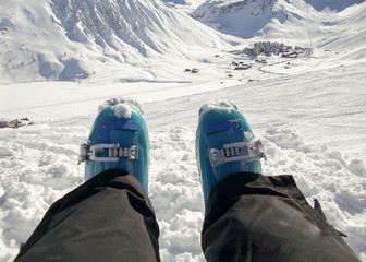 Relaxing on a ski slope, Tignes ski resort, the Alps, France