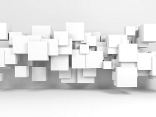 Installation of flying cubes in 3d room interior