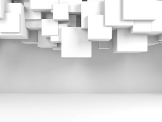 Flying cubes composition in empty interior 3d