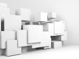 Cubes installation in empty room. 3d render