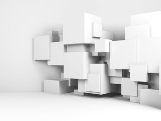 Cubes installation in empty white room. 3d