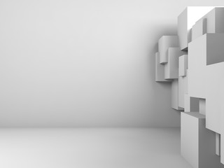 Abstract interior background with cubes 3 d