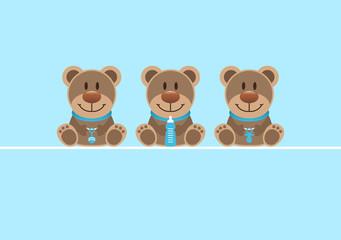 Baby Boy Card 3 Teddys