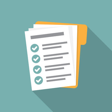 Checklist form document in folder in a flat design