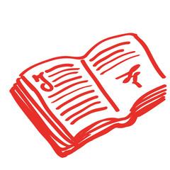 Handgezeichnetes Buch in rot