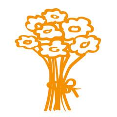 Handgezeichneter Blumenstrauß in orange