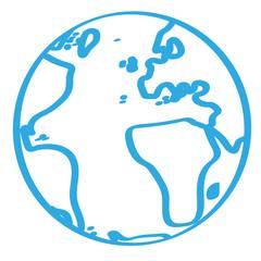 Handgezeichnete Weltkugel in blau