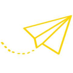 Handgezeichneter Papierflieger in gelb