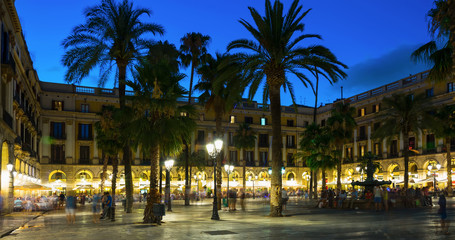 Night illumination of Royal square in Barcelona