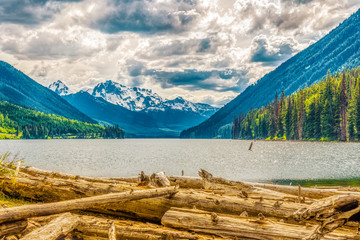 Wall Mural - Evening view at the Mount Rhor mountain from Duffey lake Provincial Park in British Columbia - Canada