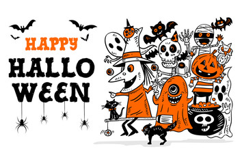 Halloween hand drawn doodle, Vector Illustration