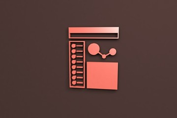 3D illustration of Infographic, red color with brown background.