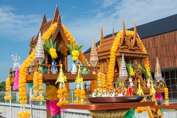 Unidentified man is in worship the shrine of city pillar on September 6, 2018 at The shrine of city pillar, Muang,Samutprakarn, Thailand.