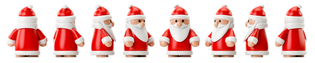 row of Santa Claus figures