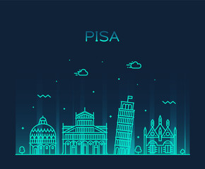 Wall Mural - Pisa skyline Italy vector linear style city