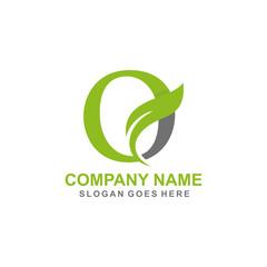 Letter O leaf initial logo template