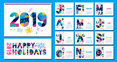 Wall Monthly Calendar template 2019. Horizontal monthly calendar template, lettering typography.  Blue background. Weeks start on sunday. Hand drawn vector elements, lettering.