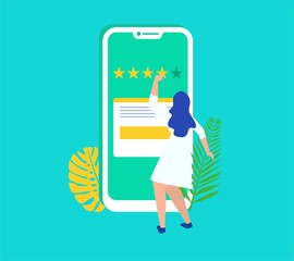 girl give rating on mobile smartphone vector illustration template, can use for, landing page, template, ui, web, mobile app, poster, banner, flyer