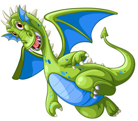 Green dragon on white background