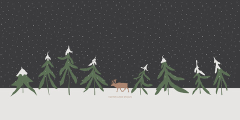 Vector illustration. Winter fir trees and reindeer silhouettes on the skyline. Night snowfall .
