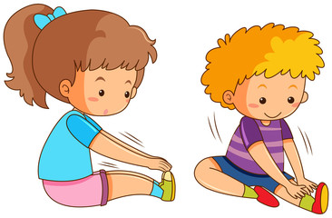 Boy and girl exercising
