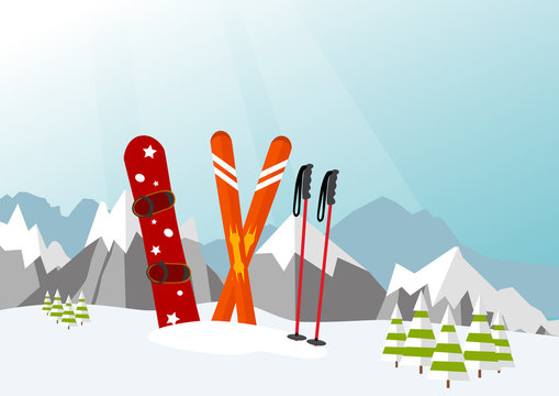 Snowboard and Ski in the Ski Mountain Resort