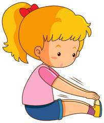A girl stretching body