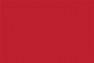 Seamless Christmas red knitted pattern. Woolen cloth.